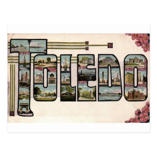 Vintage 1910 TOLEDO, OH Large Letter Design Postcard