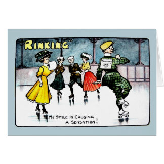 Vintage 1910s funny ice skating cartoon card