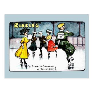 Vintage 1910s funny ice skating cartoon postcard