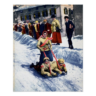 Vintage 1910s winter sports sled race Alps Posters