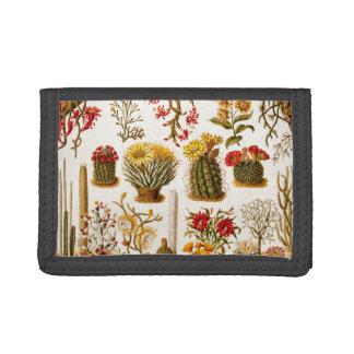 Vintage 1911 Cactus Flower Old Floral Illustration Tri-fold Wallet