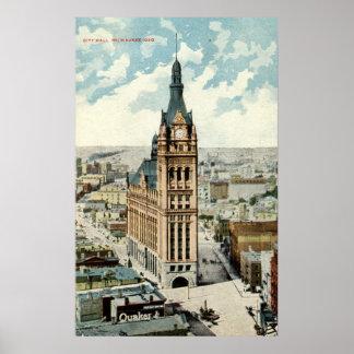 Vintage 1911 de los WI Repro de ayuntamiento Milwa Posters