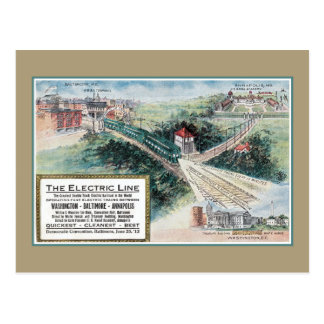 Vintage 1912 Electric railroad line Baltimore MD Postcard