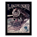 Vintage 1912 Music The Ragtime Engineer Cover Art Poster