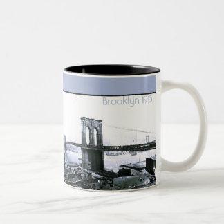 Vintage 1913 Brooklyn NYC  Panorama Two-Tone Coffee Mug