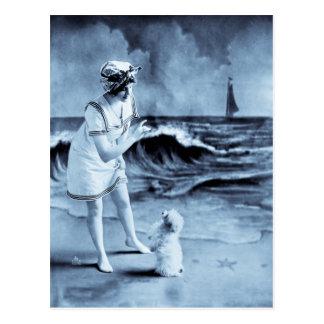 Vintage 1913 del chica y del perro postal