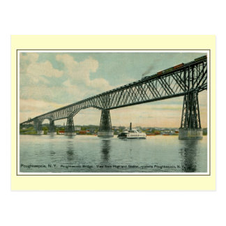 Vintage 1913 Poughkeepsie Bridge, train, boat Post Cards