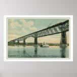 Vintage 1913 Poughkeepsie Bridge, train, boat Poster