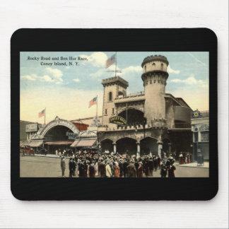 Vintage 1914 de Coney Island NY de la raza de Ben  Alfombrilla De Ratones