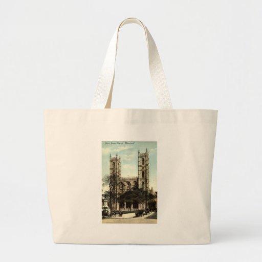 Vintage 1914 de Montreal de la iglesia de Notre Da Bolsa Tela Grande