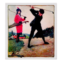 Vintage 1914 Golf  - Canvas Art Print