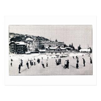 Vintage 1914 Ice Skating in Switzerland Postcard