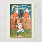 Vintage 1915 Boy at Fence Halloween Postcard
