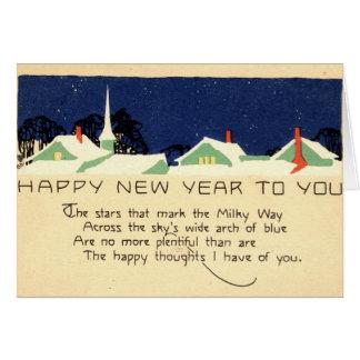 Vintage 1915 de la Feliz Año Nuevo Tarjeta De Felicitación