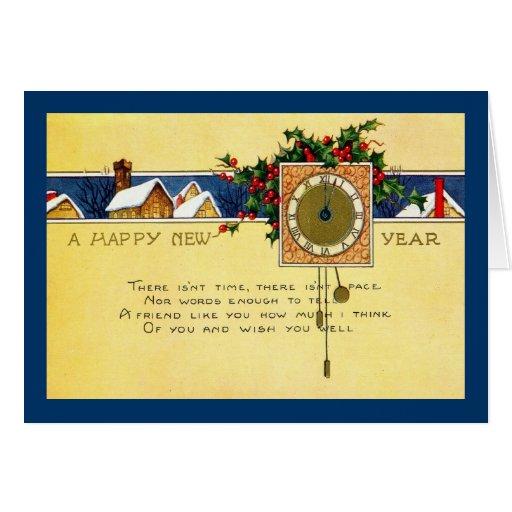 Vintage 1915 de la Feliz Año Nuevo Tarjeton