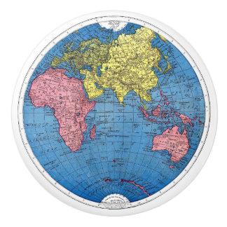 Vintage 1915 Map of the World Atlas Globe Ceramic Knob