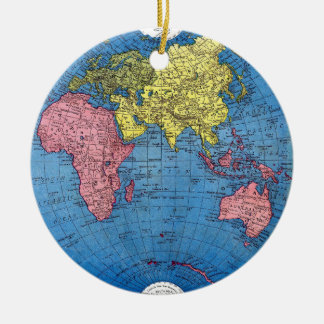 Vintage 1915 Map of the World Atlas Globe Ceramic Ornament