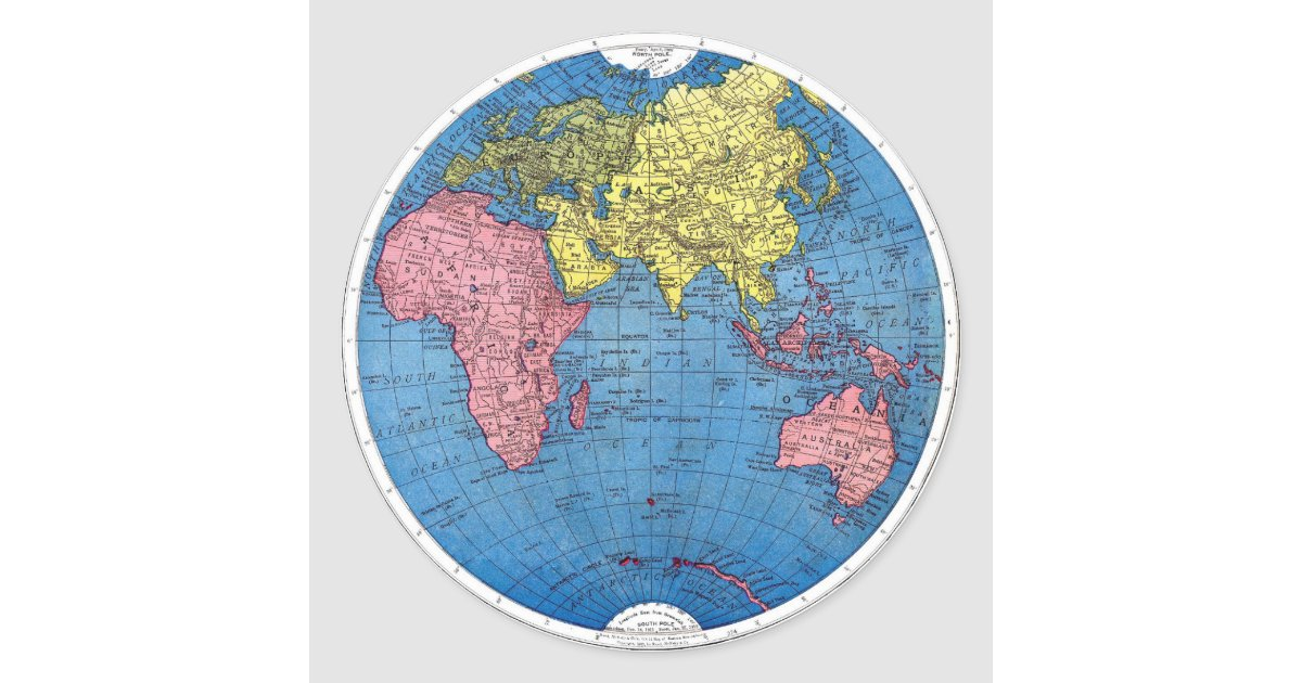 World Map Stickers Zazzle - Map of globe