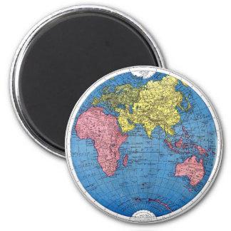 Vintage 1915 Map of the World Atlas Globe Magnet