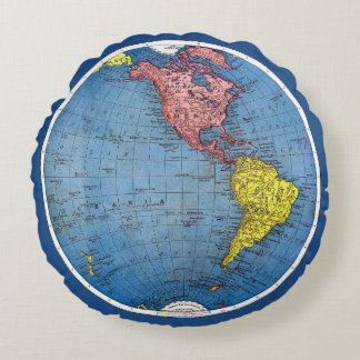 Vintage 1915 Map of the World Atlas Globe Round Pillow