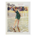 Vintage 1915 Puck Magazine Cover, Beach Poster