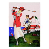 Vintage 1917 Golf - Art On Canvas Print