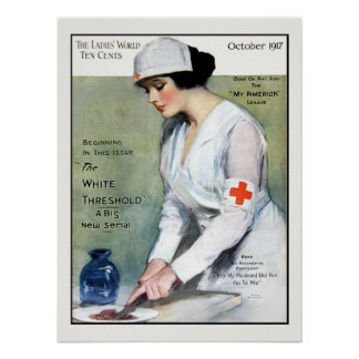 Vintage 1917 Ladies Magazine Red Cross Nurse Poster