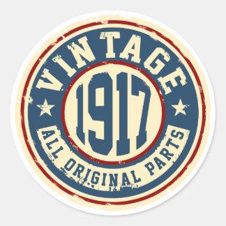 Vintage 1917 todas las piezas de la original pegatina redonda
