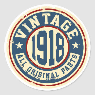 Vintage 1918 All Original Parts Classic Round Sticker