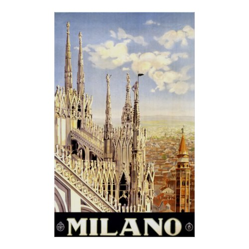 Vintage 1920 Duomo di Milano Italy Travel Poster