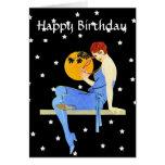 Vintage 1920's Flapper Lady Moon Stars Birthday Greeting Card