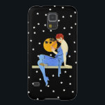 "Vintage 1920's Flapper Lady Moon Stars Red Hair Galaxy S5 Case<br><div class=""desc"">This is a vintage image of a 1920's flapper lady with red hair and a blue dress with a yellow moon and surrounded by white stars.  See my store Art by MAR for matching products with this design.</div>"