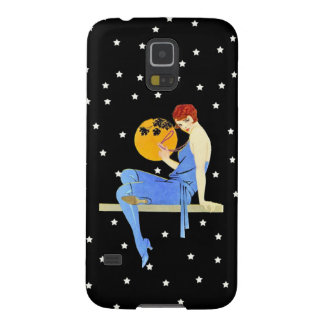 Vintage 1920's Flapper Lady Moon Stars Red Hair Galaxy S5 Case