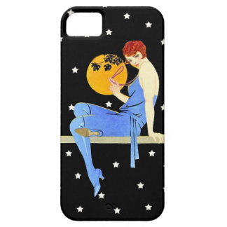 Vintage 1920's Flapper Lady Moon Stars Red Hair iPhone SE/5/5s Case