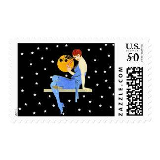 Vintage 1920's Flapper Lady Moon Stars Red Hair Postage