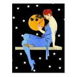 Vintage 1920's Flapper Lady Moon Stars Red Hair Postcard