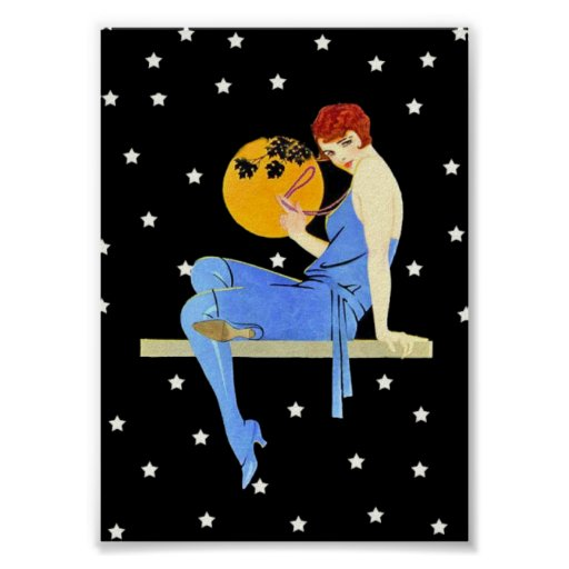 Vintage 1920's Flapper Lady Moon Stars Red Hair Posters