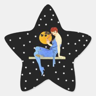 Vintage 1920's Flapper Lady Moon Stars Red Hair Star Sticker