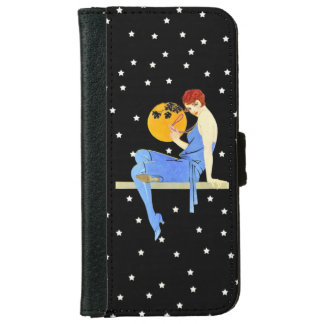 Vintage 1920's Flapper Lady Moon Stars Red Hair Wallet Phone Case For iPhone 6/6s