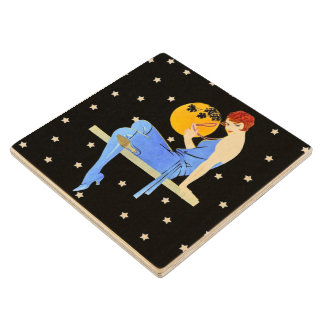 Vintage 1920's Flapper Lady Moon Stars Red Hair Wood Coaster
