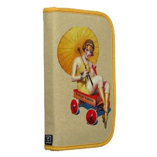 Vintage 1920's Flapper Lady Umbrella Wagon Bathing Folio Planners