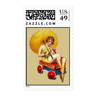 Vintage 1920's Flapper Lady Umbrella Wagon Bathing Postage Stamps
