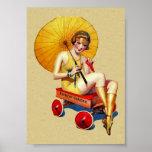 Vintage 1920's Flapper Lady Umbrella Wagon Bathing Poster