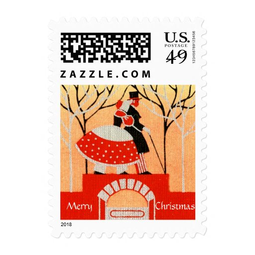 Vintage 1920s-1930s Christmas Small Postage Stamp