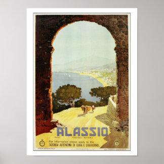 Vintage 1920s Alassio Italian travel poster