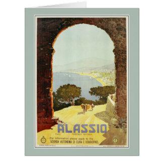 Vintage 1920s Alassio Italian travel poster Big Greeting Card