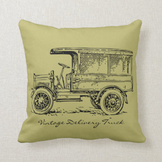 Vintage 1920's Antique Delivery and Pickup Truck Throw Pillow