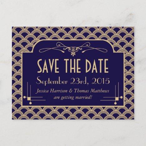 Vintage 1920's Art Deco Gatsby Wedding Collection Announcement Postcard