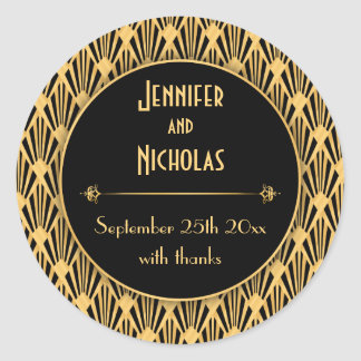 Vintage 1920s Art Deco Geometric Diamonds Pattern Classic Round Sticker