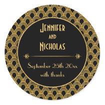 Vintage 1920s Art Deco Geometric Fans Pattern Classic Round Sticker
